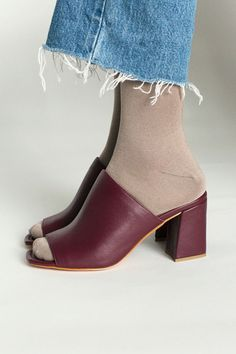 Same day shipping on Maryam Nassir Zadeh shoes. This Maryam Nassir Zadeh Penelope Mule comes in rich burgundy calf leather with wooden stacked heel. Sale 50, Pumps, Heels, Shoe Sale, Sock Shoes, Colorful Fashion, Heeled Mules, Calves, Peep Toe