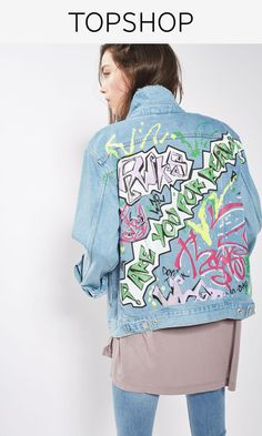 The denim jacket gets even cooler with this oversized style. Crafted from pure cotton in a wearable mid stone wash, it comes with a button front, handy pockets, rips and graffiti print detail to the back.