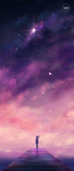 Illustration art night stars night sky scenery original myart artists on tumblr anime scenery Paper Airplanes sugarmints