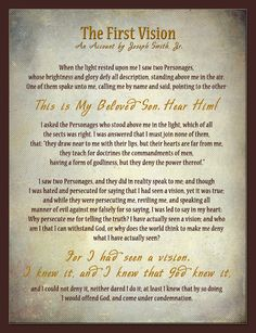 The First Vision (Text from Joseph Smith - History, Pearl of Great Price)