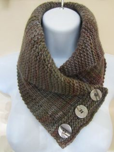 3 Button Cowl or Neckwarmer with a Rolled Shawl Collar by TooCozy