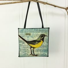 Sing! A Whimsical Meadowlark Little Bird Ornament or Tiny Wall Hanging created by NaturesWalkStudio.com