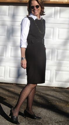 Professional outfit for women over 50 repurpose that sleeveless dress as a jumper...