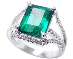 Beautiful emerald cut emerald rings white gold