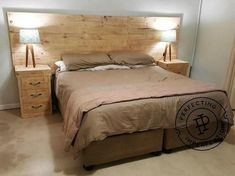 A Much Fabulous Recycled Wooden Pallet Bed Frame With Side Tables And Headboard Are Presented Here For Your Bedroom That Is Artistically Overall Designed