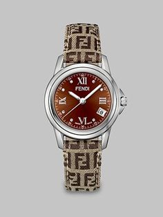 Fendi - Round Stainless Steel Woven Leather Watch - Saks.com