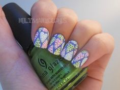 Polka-dotted heart skittles nails by Holy Manicures: August 2012!