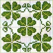 Biscornu chart - For all my Irish friends and beadworkers, a lucky four leaf clover pattern! #heartbeadwork #loombeading