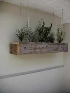 DIY: Hanging Kitchen Herb Garden : Possibly plant hanging plants and make a porch screen too. Herb Garden In Kitchen, Kitchen Herbs, Home And Garden, Herbs Garden, Herbal Kitchen, Backyard Kitchen, Hanging Herbs, Diy Hanging, Hanging Gardens