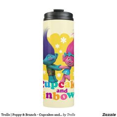 Trolls   Poppy & Branch - Cupcakes and Rainbows. Regalos, Gifts. #bottle #botella