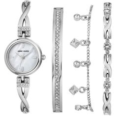 Anne Klein Women's Silver-Tone Bangle Bracelet Watch 22mm Gift Set ($150) ❤ liked on Polyvore featuring jewelry, bracelets, silver, swarovski crystal jewelry, swarovski crystal bangle, polish jewelry, silver tone charms and chain jewelry