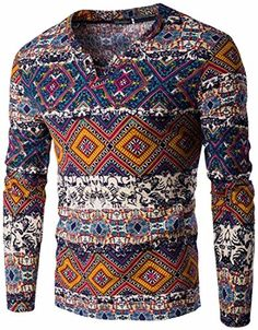 jeansian Men's Personality Ethnic Style Long Sleeved T-Sh…