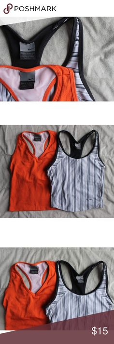 2 Nike dri-fit tanks One orange Nike dri-fit tank and one black and lavender striped tank. Both have built in bras (not padded) both have been worn and have slight pulls in the threads but still in good condition! Both are XS (0-2) please feel free to ask any questions or place an offer 😊 Nike Tops Tank Tops