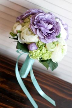 purple silk flower bouquet