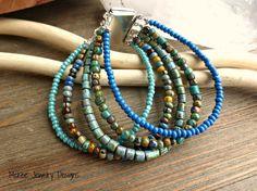 Harmony.  Silver filigree, Czech glass, glass seed beaded bracelet, multi strand.