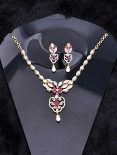Pearl Necklace Jewelry Set with CZ Stones
