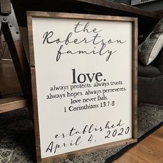 love. Family/Anniversary sign Anniversary Dates, Up Quotes, Love Never Fails, Custom Wood Signs, Gift Tags, Design, Birthday Dates, Anniversary Poems