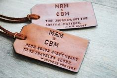 2 Custom Leather Luggage Tags Up to 8 lines / OfTheFountain