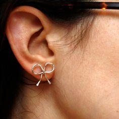 Bow Earrings Sterling Silver