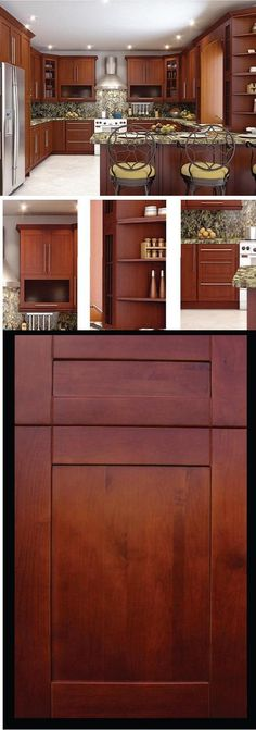 The Naples Kitchen Cabinet Line features alder shaker doors with a warm walnut stain. The micro groove frame joints help soften the opposing grain patterns and adds a touch of elegance to this old-world cabinet style. WWW.RTACABINETMALL.COM