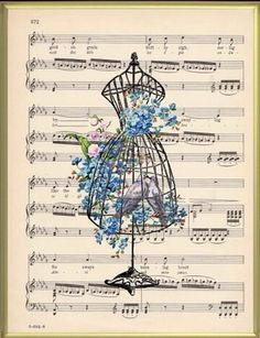 Manichino - dress form with blue flowers on music background
