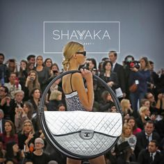 "Iconic Chanel Runway Hula Hoop X-Large Classic Bag in Quilted White Lambskin with 2 Black Hula Circles Covered with Black Leather | 30.5"" x 30.5"" x 5.5"" 