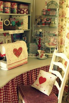 """Sew & Craft A Little Love""- (OUR NEW BOARD COVER TILL I FIND A BETTER ONE)!!- Such A Cozy Crafting Space!!"