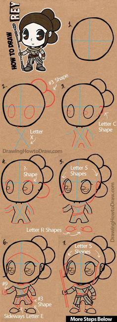 How to Draw Cartoon Chibi Rey from Star Wars The Force Awakens with Easy Step by Step Drawing Lesson