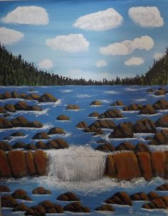 """16 x 20 acrylic on canvas = """"Forest Waterfall"""""""