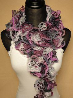 Plum/Silver Crocheted Ruffle Scarf - Ruffle Scarves - Crocheted Ladies Scarf - Gray/Plum Ruffle Scarf - Crocheted Scarves by HappyNanaba, $9.00 USD
