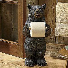 Bear Bathroom Tissue Holder from Seventh Avenue ® Small Bathroom Window, White Bathroom Decor, Grey Home Decor, Bathroom Kids, Bathroom Wall Decor, Wall Stickers Red, Hello Kitty Bathroom, Small Curtains, Bear Rug