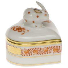 Heart Box with Bunny - Rust