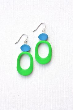 Funky green blue earrings colorful jewelry fun abstract dangle earrings on Etsy, $30.36 AUD