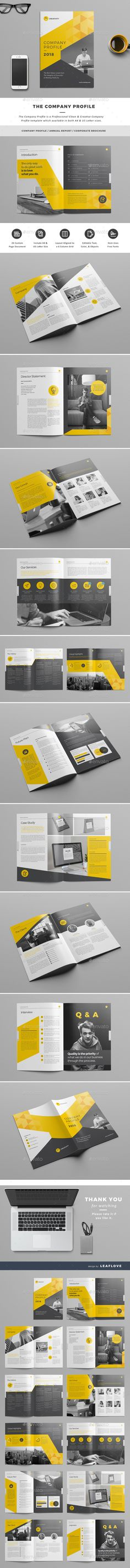 The Company Profile. Print-templates Brochures Corporate. Tagged as agency, annual report, book, brand, brochure, business, clean, company profile, corporate, creative, design, digital, identity, indesign, infographics, informational, letter, marketing, modern, portfolio, professional, project, proposal, report, review, swiss, template, and yellow.