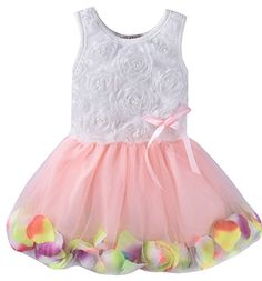 ZOEREA Kids Baby Girls Dress Princess Flower Petal Lace Ruffled Tulle Skirts >>> Read more at the image link.