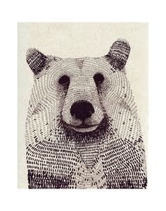 animal, art, bear, behance, drawing, forest