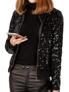 105972d039b JEERISE Women's Mermaid Sequin Blazer Long Sleeve Plus Size Clubwear Sparkly  Bomber Jacket Sequin Blazer,