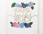 Floral Sorority Canvas: Kappa Delta, Sorority Gift, Floral Canvas