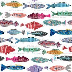 Colorful Fish Fabric by the Yard Childrens Fabric Cotton Nursery Fabric Kids Room Fishing Fish Decor Fabric 4355378 Bathroom Wallpaper Fish, Fish Wallpaper, Fabric Wallpaper, Folk Art Fish, Fish Art, Fabric Fish, Beach Fabric, Scandinavian Fabric, Fish Patterns