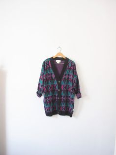Vintage 80's neon aztec print cardigan sweater bright by manorborn