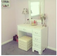 Old desk from craigslist turned into vanity ;) Check out www.laleelovesbeauty.com for everything beauty related!