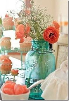 teal and coral bedroom ideas | turquoise and coral blue mason jars, ball jars, pink flowers, coral bedroom, color schemes, color combos, coral and teal bedroom ideas, color combinations, coral and turquoise bathroom
