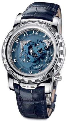Ulysse Nardin Freak DIAMonSIL Platinum Blue Mens Watch 029-89  $96,000.00  #UlysseNardin #LuxuryWatches #ExpensiveWatches