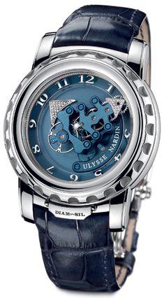 Ulysse Nardin Freak DIAMonSIL Platinum Blue Mens Watch 029-89 $96,000.00 #UlysseNardin #LuxuryWatches #ExpensiveWatches