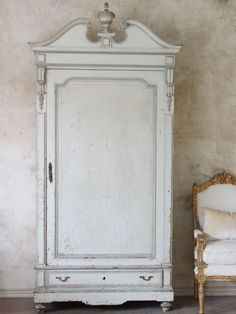 Antique French Style Armoire in Cream and Blue-grey c. 1920s