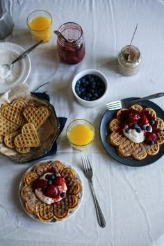 Cinnamon Oat Breakfast Waffles with Strawberry Compote I Daisy and the Fox