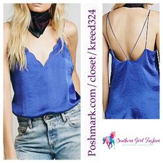 FREE PEOPLE Top Strappy Swing Scalloped Camisole Size Small. New with Boutique Tag.* $58 Retail + Tax.  Strappy scalloped v neck cami. Semi-sheer silky fabric. Intimately Free People.  Color is a mix between purple and blue, as shown.    Polyester.  Imported.    ❗️ Please - no trades, PP, holds, or Modeling.    Bundle 2+ items for a 20% discount!    Stop by my closet for even more items from this brand!  ✔️ Items are priced to sell, however reasonable offers will be considered when submitted…