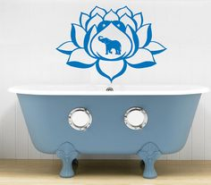 Lotus Flower Elephant Yoga Wall Decals Wall Vinyl by BestDecals, $17.99
