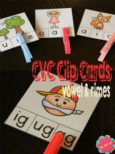 CVC clip/clothespin cards for reviewing vowel sounds & rimes. b/w included $ #lifeovercs #education #CVC