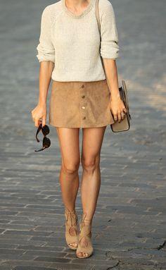 Skirt: Express, Sweater: Theory, Shoes: Aquazzura, Bag: Celine